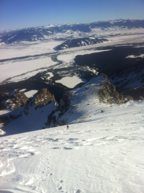 Dane skiing down the massive East face of Disappointment Peak