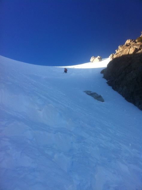 Dane entering the Spoon Couloir