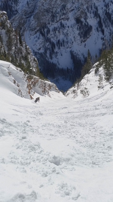 Hank skiing from the halfway point of the 4 Hour Couloir.
