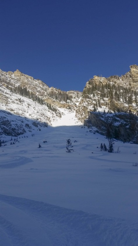 Looking up into the 4 Hour Couloir from Avalanche Canyon.