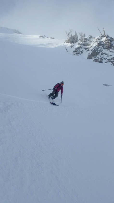 Zelie, making some powder turns down the first section of Albright's East face.