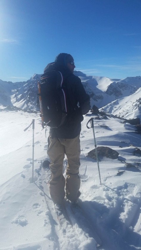 Grizz getting ready to ski.
