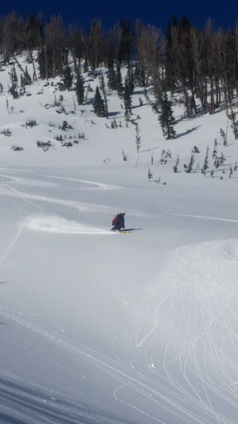 Close, skiing the lower gut.