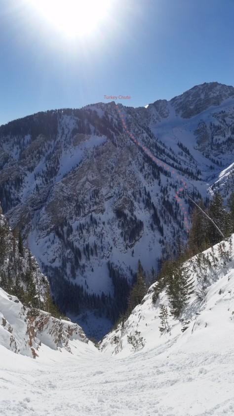 Turkey Chute off 25 Short across Avalanche Canyon.