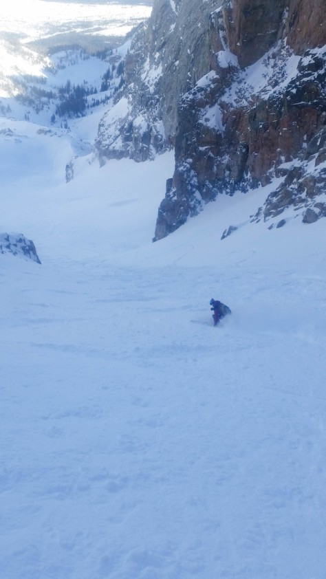 Looking down the bottom half of the couloir.