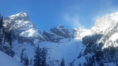 The Grand, Owen and a shoulder of Teewinot looming large in Glacier Gulch.