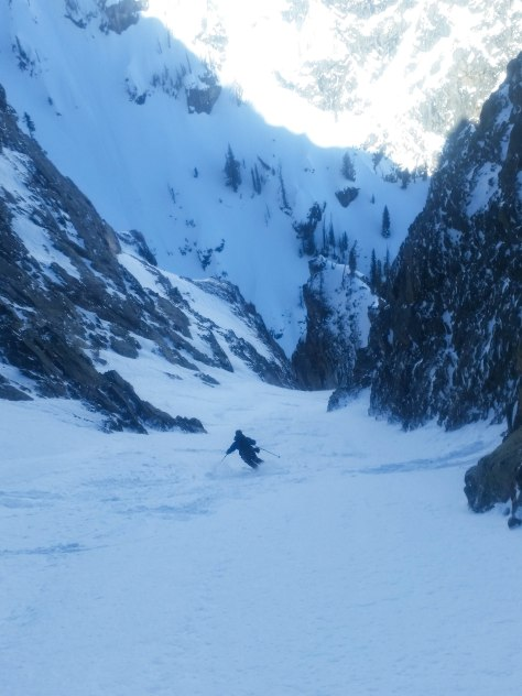 Dane making some powder turns in the upper portion of the couloir.