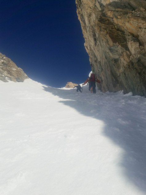 "Working our way up the ""entry"" couloir on Buck's East Face."