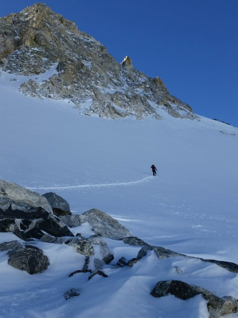 Dane, working his way up to the Northwest Couloir.