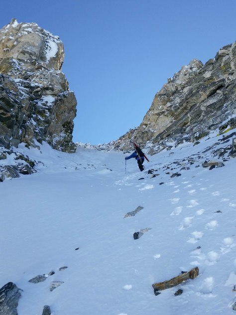 Dane, starting up the Northwest Couloir.