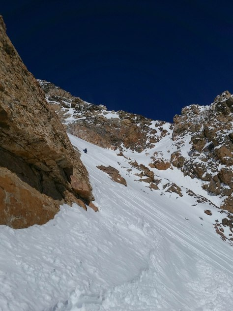 Dane, cutting across and down the upper snowfield of the Amora Vida.