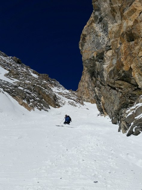 Dane, nearing the bottom of the couloir.