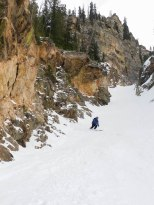 Dane, coming out of the couloir proper.