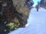 Making my way up the lichen couloir. (photo: Dane Etter-Garrette)