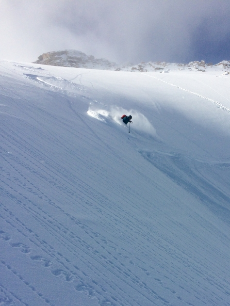 Deep turns in the Spoon Couloir.