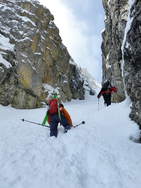 Making our way up the initial pinch in deep snow.