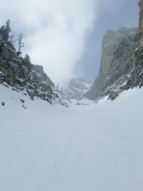 Just coming out of the pinch in the Southeast Couloir.