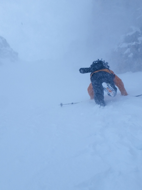 Dane, breaking trail towards the top as the wind gusts down the couloir.