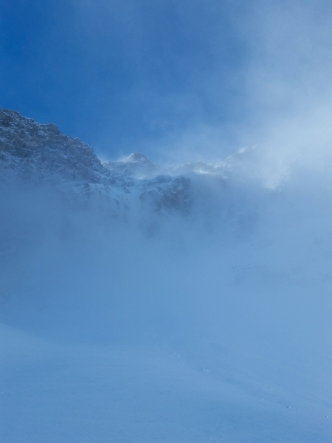 Looking up the Sickle with the wind creating near whiteout conditions.