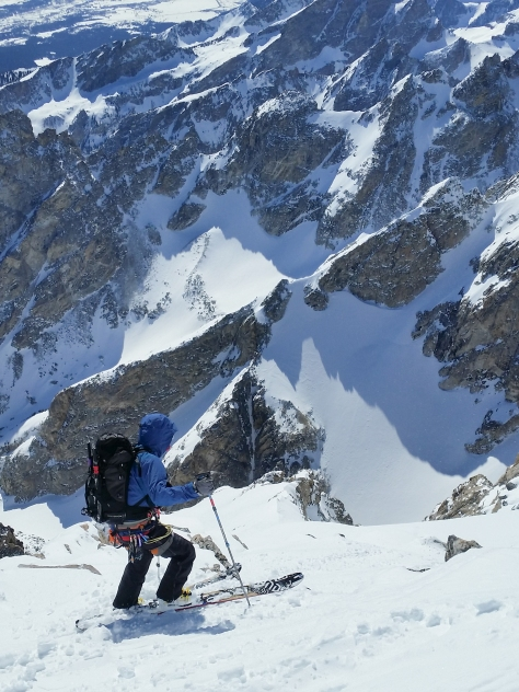 Skiing onto the East Face.