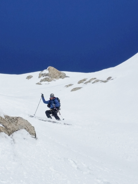 Dane, navigating down the middle portion of couloir.