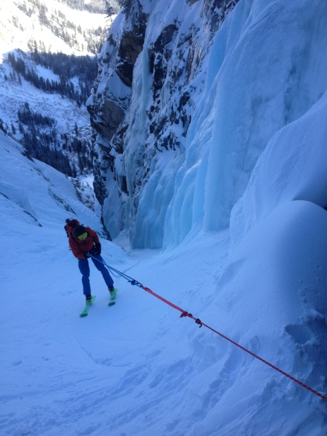 Rappelling through the ice
